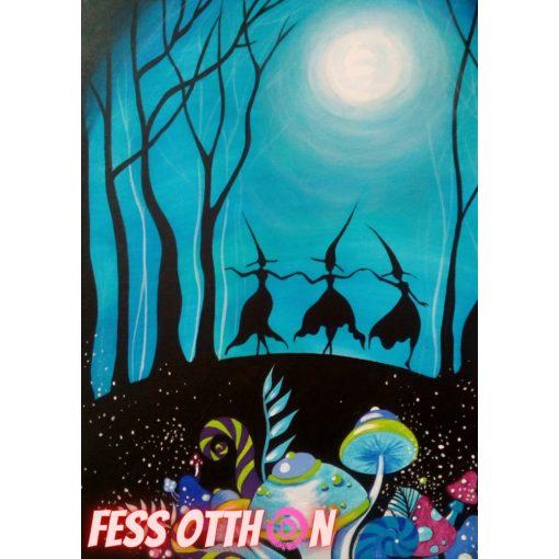 Boszorkánytánc világító festmény